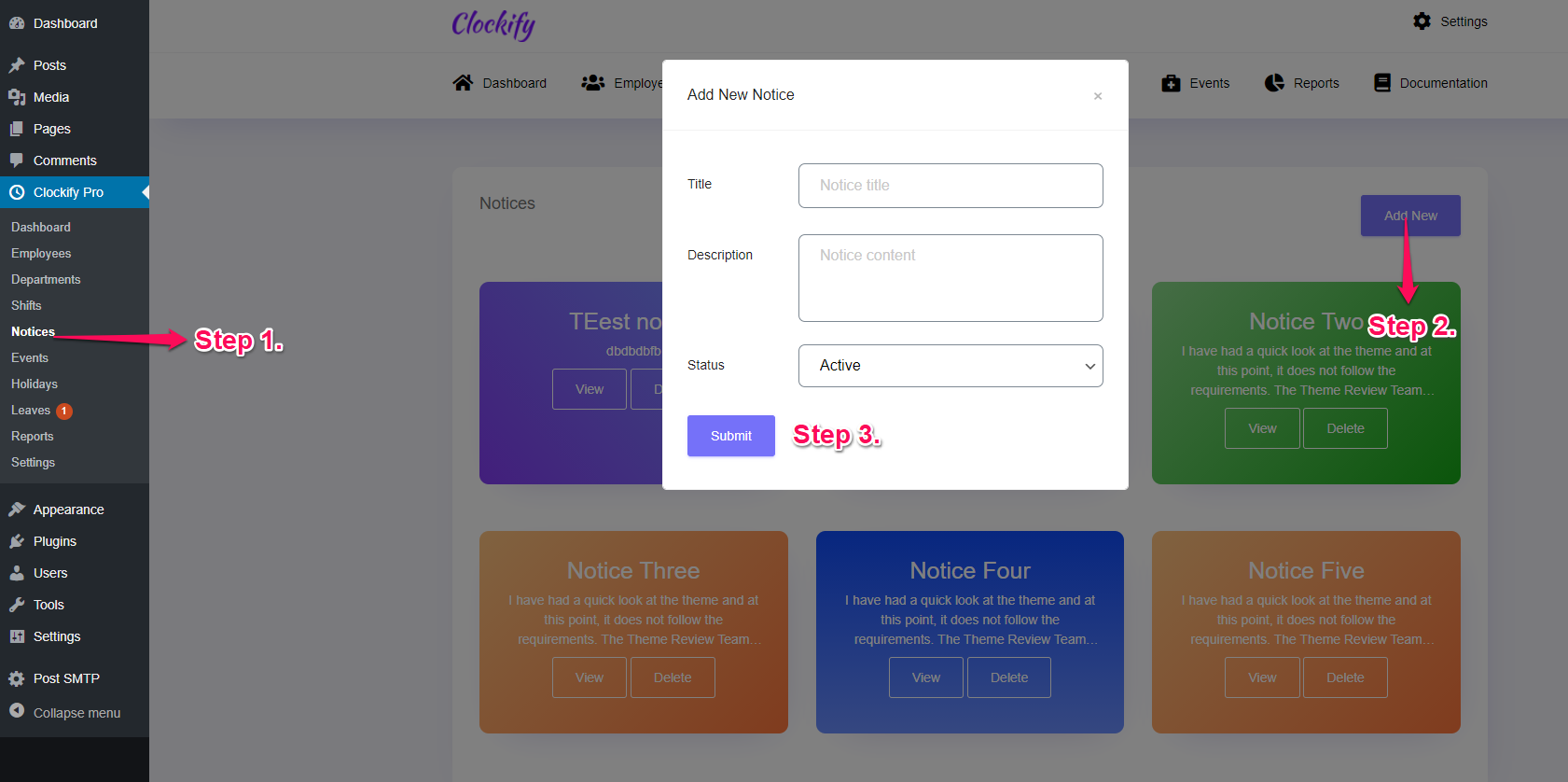 Clockify pro notice panel