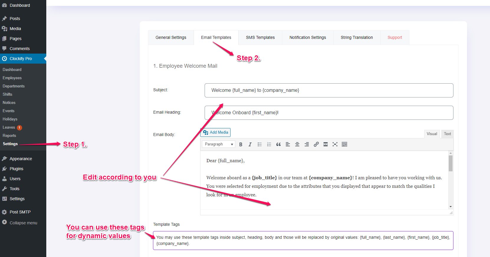 Email templates options