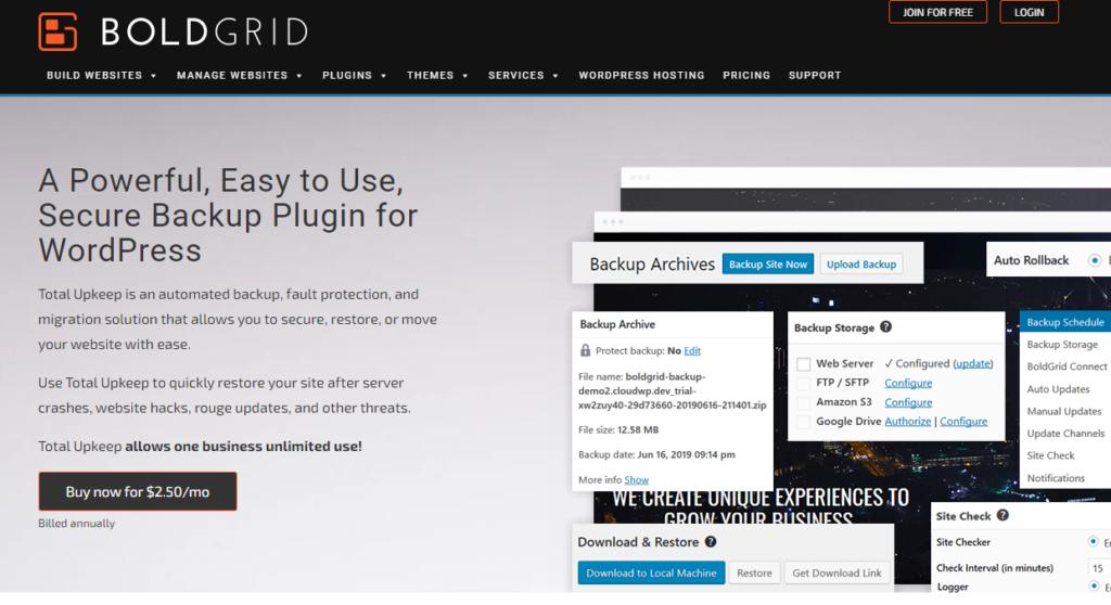 WordPress backup plugin - BlogGrid