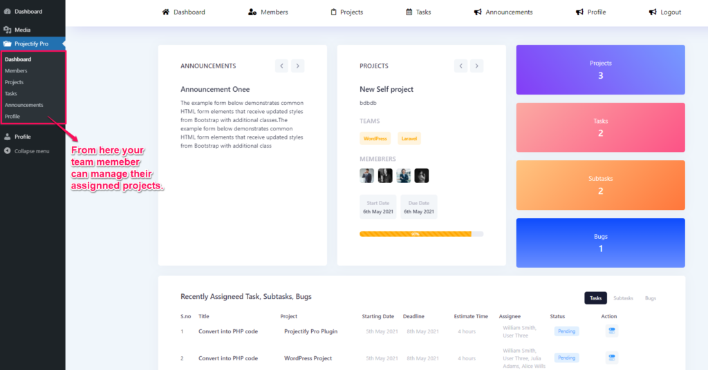 Project management system - Member dashboard