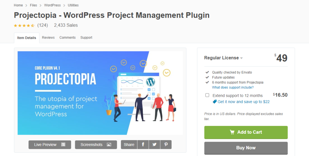 WordPress Project Management Plugins - Projectopia